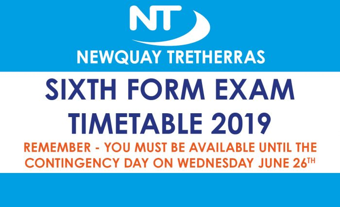 SIXTH FORM EXAM TIMETABLE 2019