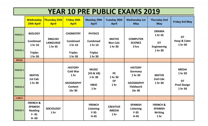 Year 10 PPE Timetable 2019