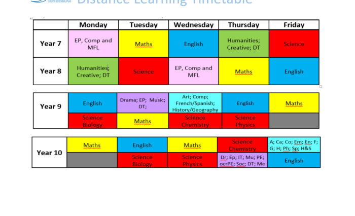 Distance Learning Timetable