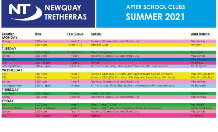 After School Clubs - Summer 2021