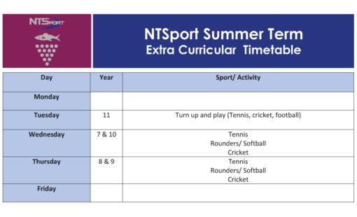 NTSport Extra-Curricular - Summer Term 2021